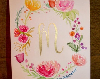 Floral Wreath with Custom Script