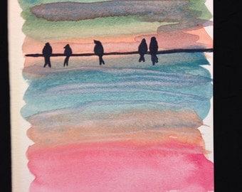 Birds On A Wire Watercolour Print Card - BLANK INSIDE