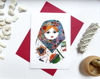 Russian Doll Greeting Card, Russian Doll illustration, gems, A6