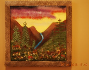 Handpainted mountain valley scence, original, none are alike.