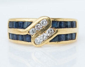 Vintage Sapphire and Diamond Gold Band