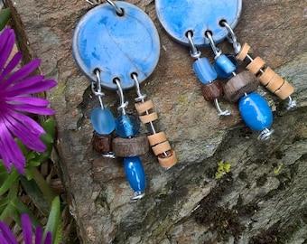 Earrings blue cooking ceramic raku and pearl coconut