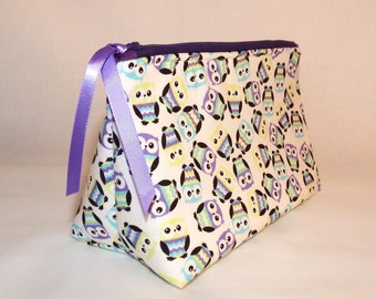 Purple Owls Cosmetic Bag