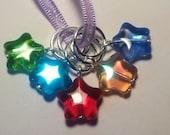 Knitting stitch markers, set of 5 glass star bead stitch markers