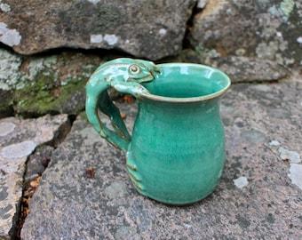 Jumping Frog Mug - Fern Green, Ceramic Mug, Coffee Mug,  Mug, Frog Pottery, Frog, Coffee Cup, Frog Coffee Mugs, Frog Gift