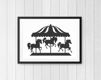 Black Carousel Silhouette - Printable Wall Art