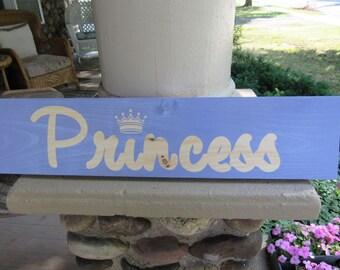 PRINCESS Handmade Wood Sign 24 x 5.25 Lavender and Natural Wood