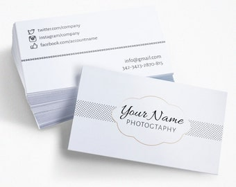 White Photographer Business Card, Photography Calling Card, PSD Template, Instant Download, Clean Business Card