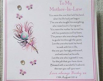 Personalised Card To My New Mother In Law On My Wedding Day - Keepsake Card - Thank you Card - In Laws Card