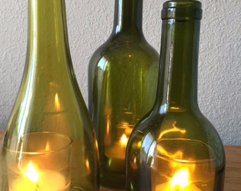 Set of Three Wine Bottle Candle Holders