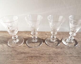 Art Deco American Brilliant Style Crystal CordiaSet of 4 Glasses, 1920s Stemware, Dinkware