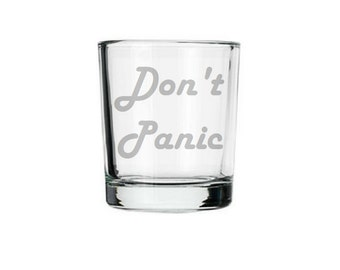 Hitchhiker's Guide etched shot glass, Don't Panic, 42 answer to the universe life and everything, douglas adams, towel day