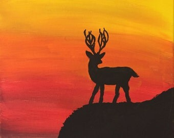 11X14 Buck at Sunset Acrylic Painting