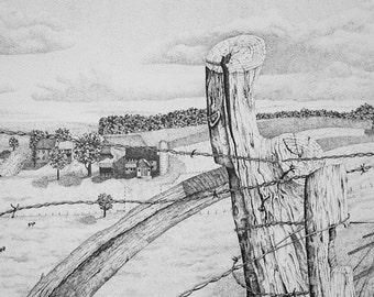 Pen & ink landscape Amish Farm