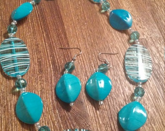Turquoise and stripes, lightweight, eccentric, exotic necklace