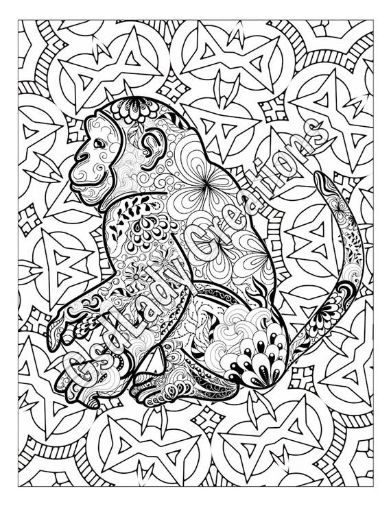 Monkey Animal Art Page To Color Zentangle Animal Zentangle
