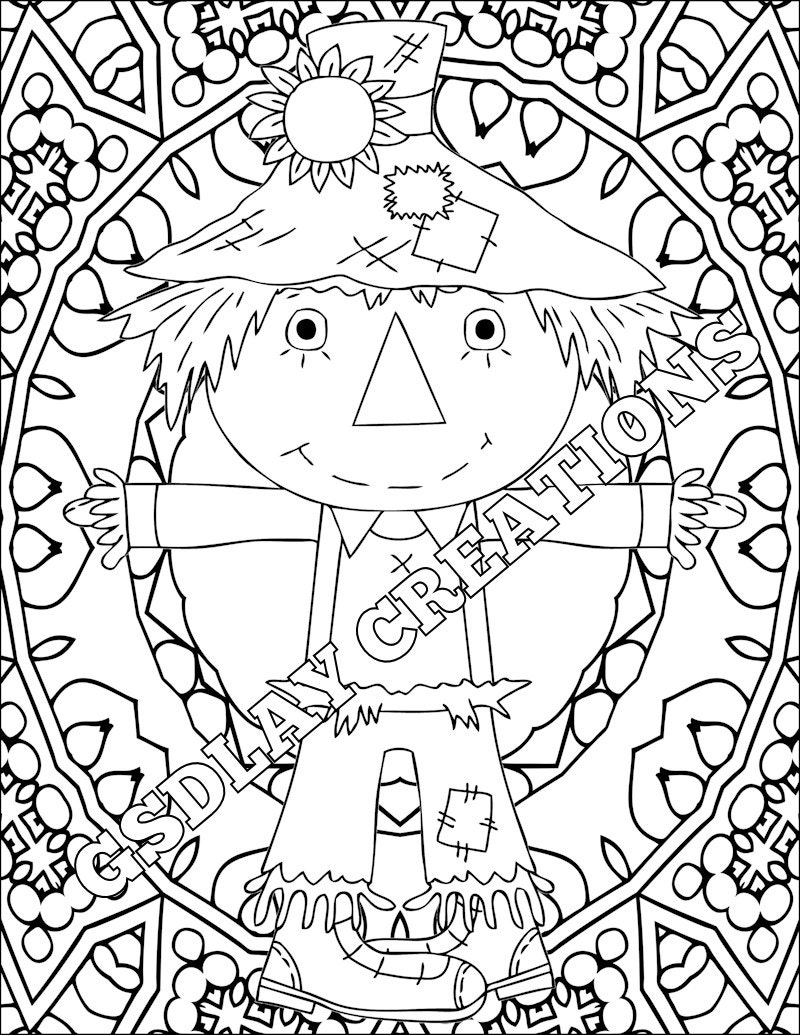 coloring country scarecrow old clothes flower hat