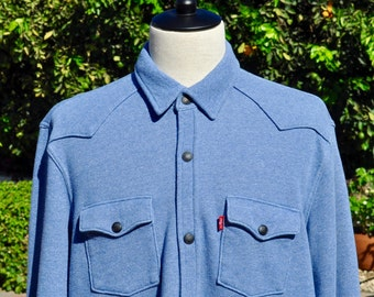 Levi's Shirt CPO Jacket Barstow French Terry Light Blue Size XL.