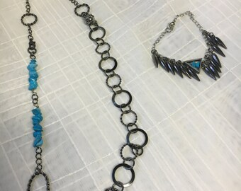 Gun metal and turquoise necklace/lanyard set