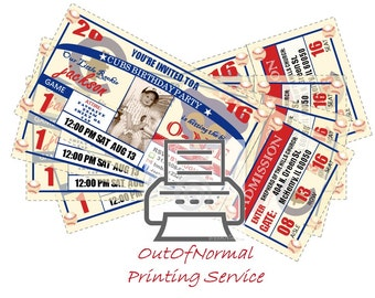 Ticket and Invitation Printing Service - 24 Printed Personalized Ticket Invitations or Thank You tags