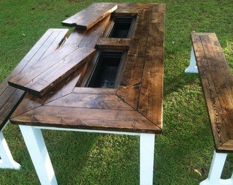 Patio picnic Table with icebox inserts
