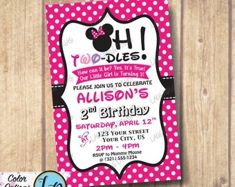 Oh Two-Dles Minnie Mouse Inspired Polka Dot Invitation; Minnie Mouse Photo Invitation; Little Girl is Turning Two invite