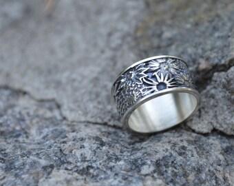 Sunflower sterling silver ring, coustom ring