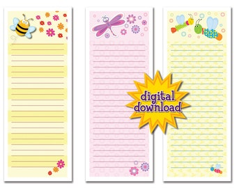 Colorful Cute Bug Notepads - Digital Download