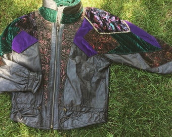1980s patchwork leather jacket