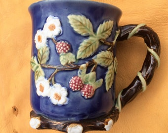 Vintage 1990's Nouveau Majolica Raspberries and Vines Coffee Mug
