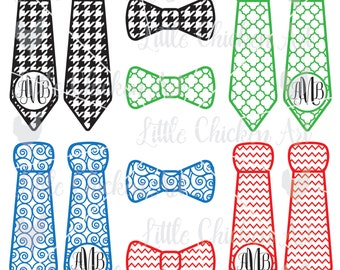 Patterned Tie Set with Monogram Circle, Bow Tie / Neck Tie, Cut File / Clip Art, Silhouette, Cricut, Scrapbook, SVG, DXF, JPEG, Houndstooth