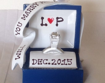 Personalized Will You Marry Me, Engagement, She Said Yes -Christmas Ornament Gift