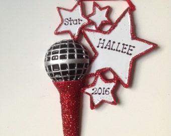 Microphone  Personalized Christmas Ornament Singer, Karaoke, Musician , Teacher Gift