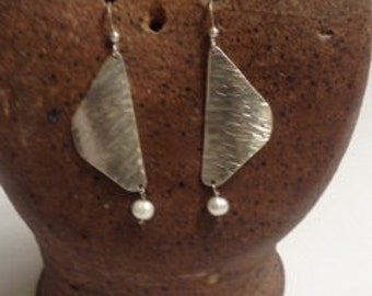 Sterling Silver and Pearl Hammered Ear Rings