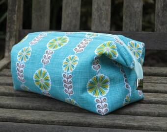 Turquoise  toiletry bag, cosmetic bag, wash bag, retreat bag