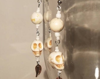 Bone Color Stone Skull Earrings with Antiquex Copper Accents
