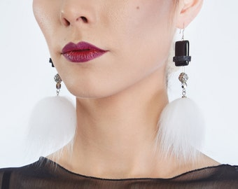 Givre - Recycled fur earrings