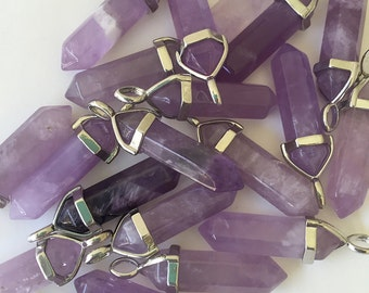 Amethyst Crystal/ Amethyst Crystal Point Pendant/ Hexagonal Double Point Amethyst Gemstone CY101