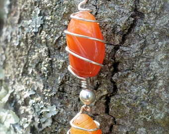 Polished Orange Agate Silver Wire Wrapped Dangly Pendant Necklace, Nature Inspired Boho Jewelry, Polished Stone Necklace, Prom Jewelry