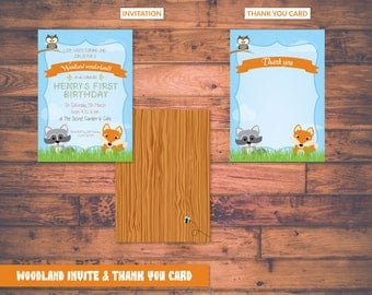 Personalised Woodland Party Package Birthday Invite & Thank You Card