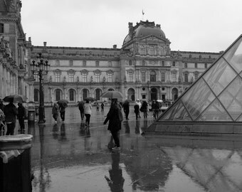 Louvre In The Rain, Paris, France