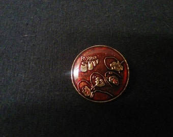 Vintage Red Beatles Rubber Soul Pin