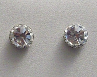 White Austrian Crystal Earrings in Stainless Steel