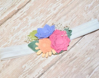 Spiked felt roses headband or clip - pink and blue felt roses