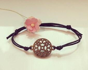 Flower of life bracelet in black, life, freedom, vitality, strength, energy,