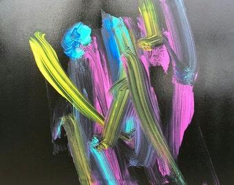 Elephant Painting: Neon on Black