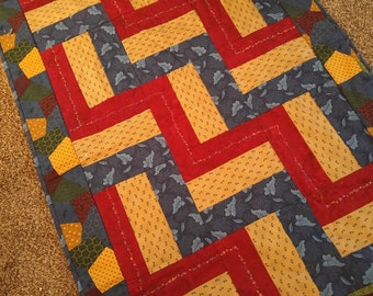 Embroidered Rail fence Quilt