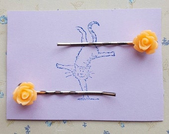 Handmade small peach rose bobby pins - set of two 10mm peach rose bobby pin hairclips