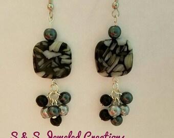 Black Silver Gray Cluster Earrings