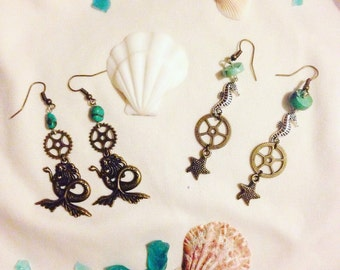Mermaid or Seahorse earrings with turquoise beads